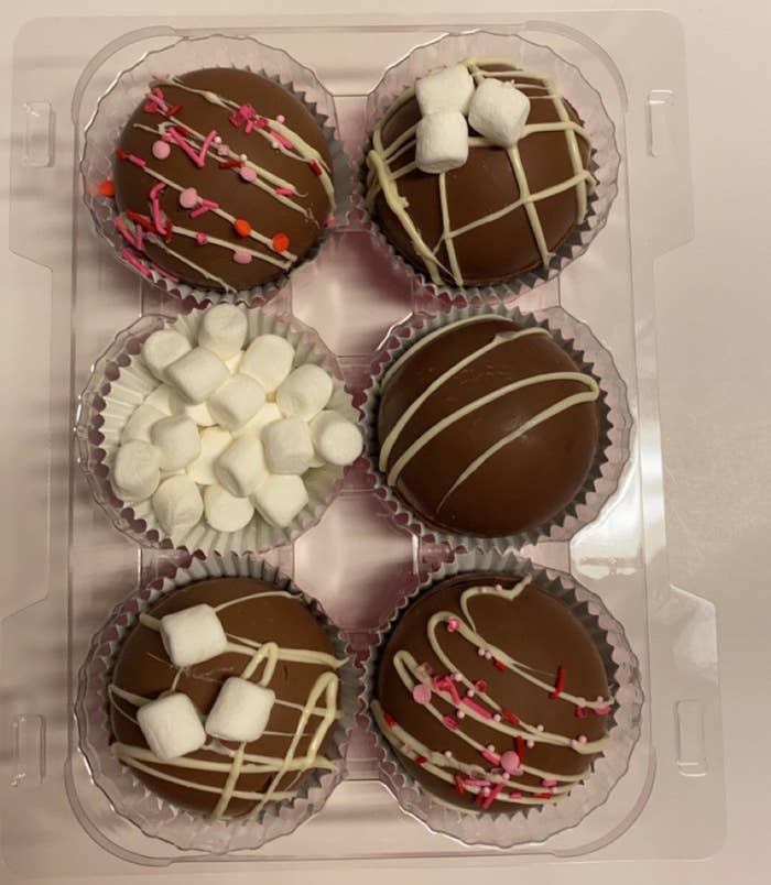 the chocolate bombs in a tray