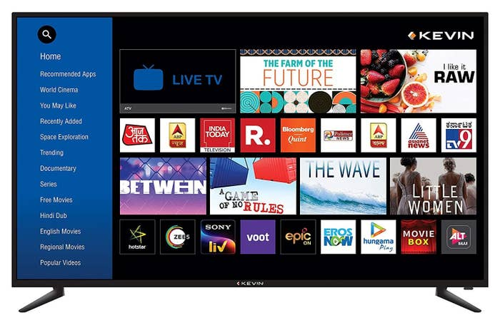 Various channels and options available on the TV.
