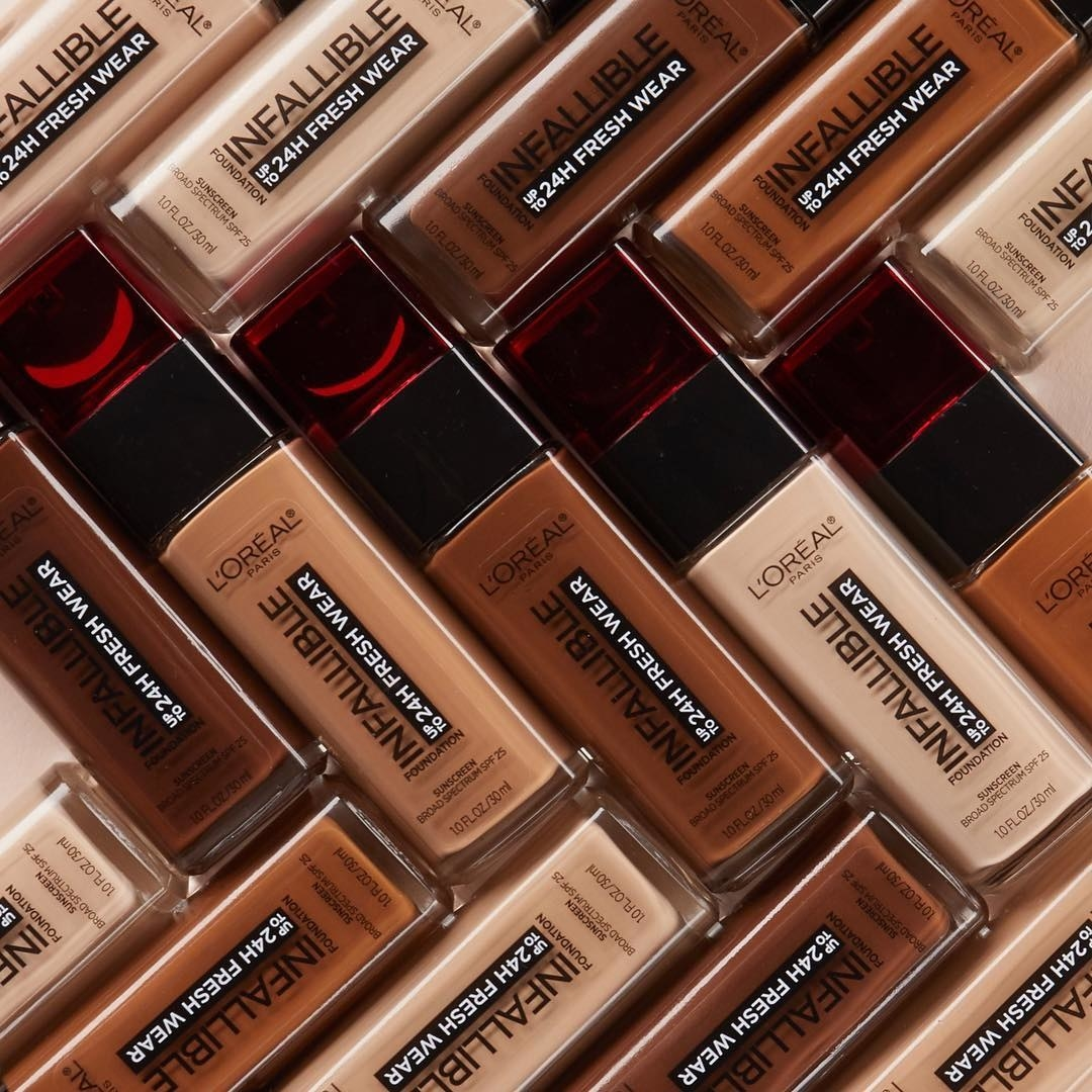 Bottles of different shades of L'oreal Infallible foundation