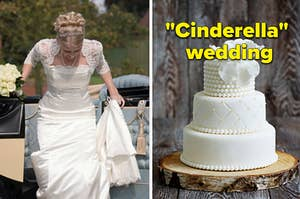 """A woman is leaving a carriage on the left with a cake on the right labeled, """"Cinderella wedding"""""""