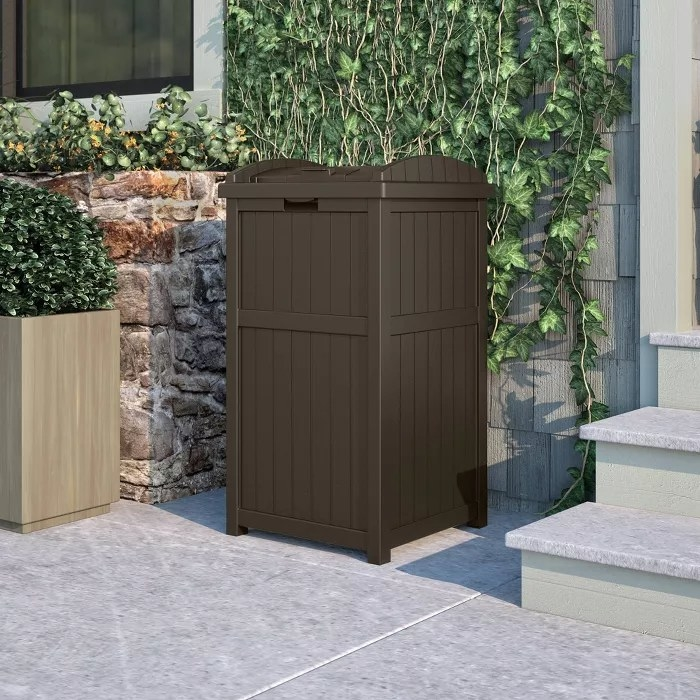 The outdoor trash can