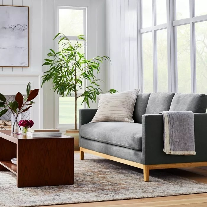 The couch in dark gray