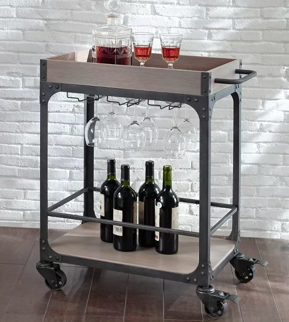 The industrial bar cart with a wine rack
