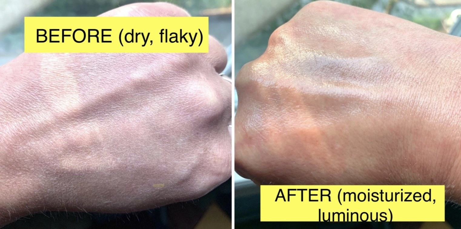 a dry, flaky hand before the setting spray, a moisturized, luminous hand after the setting spray
