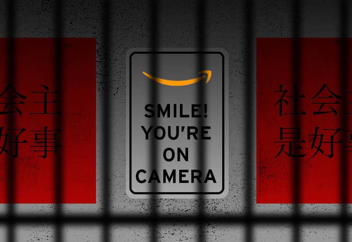 "An image of a sign with Amazon's logo and the phrase, ""SMILE! YOU'RE ON CAMERA"""