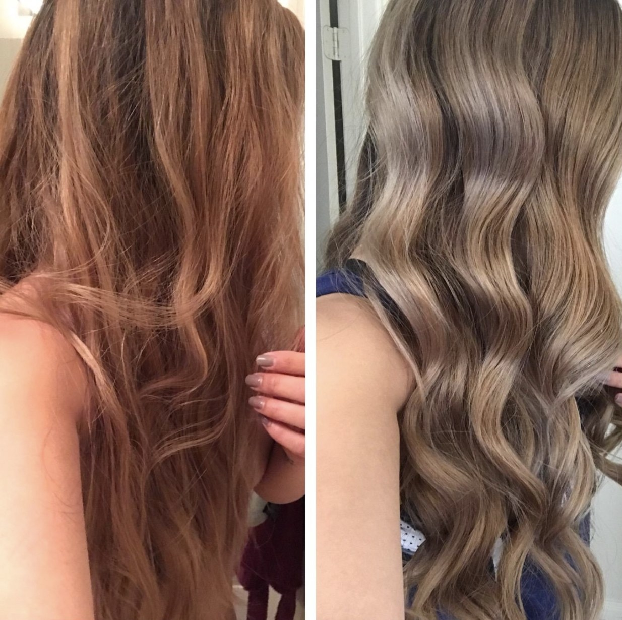 a person before and after using the shampoo in their brassy hair