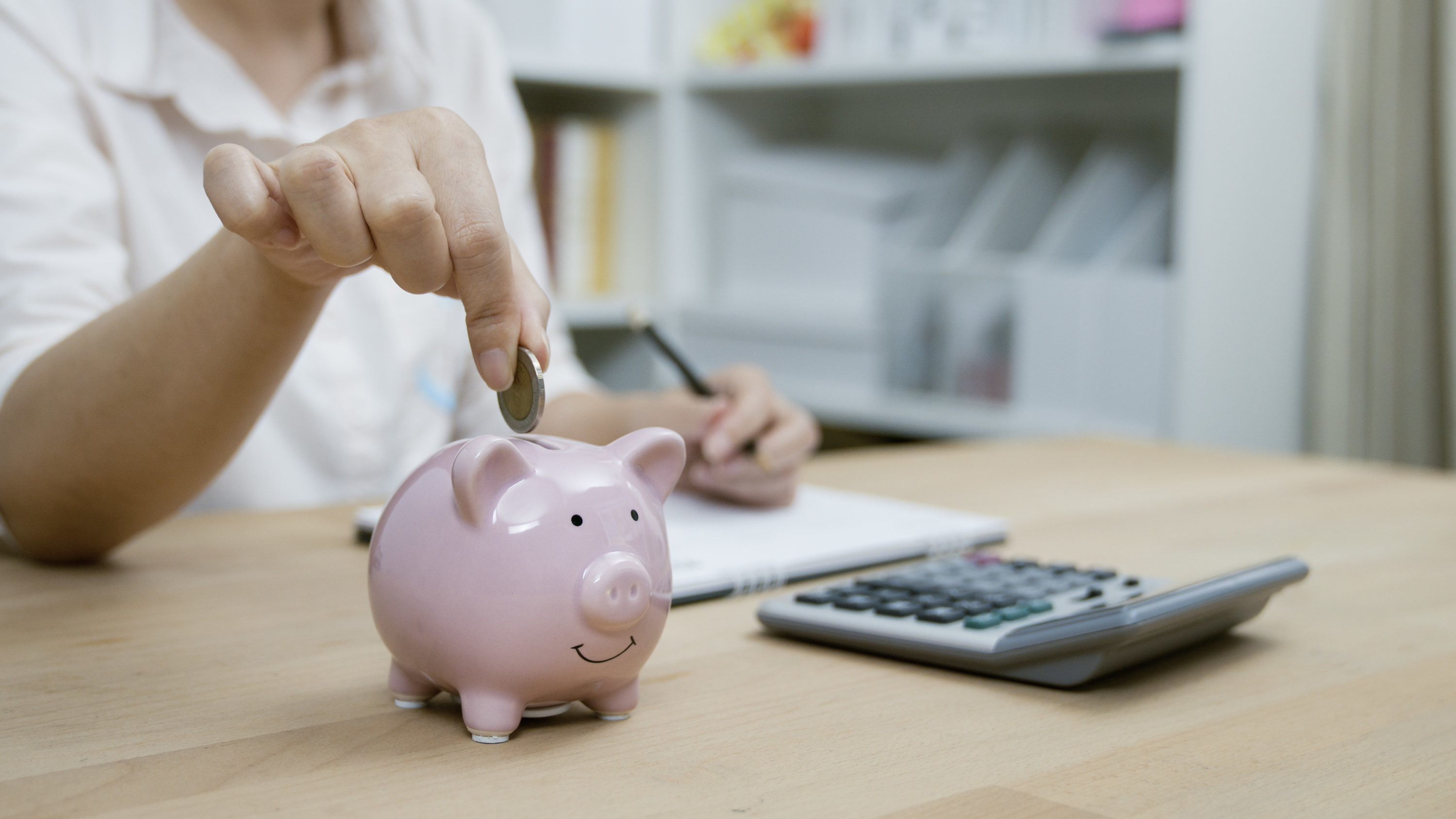 Person putting a coin in a piggy bank