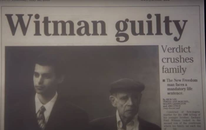 "Zachary Witman on his way to court on the front page of a newspaper under the headline ""Witman guilty"""