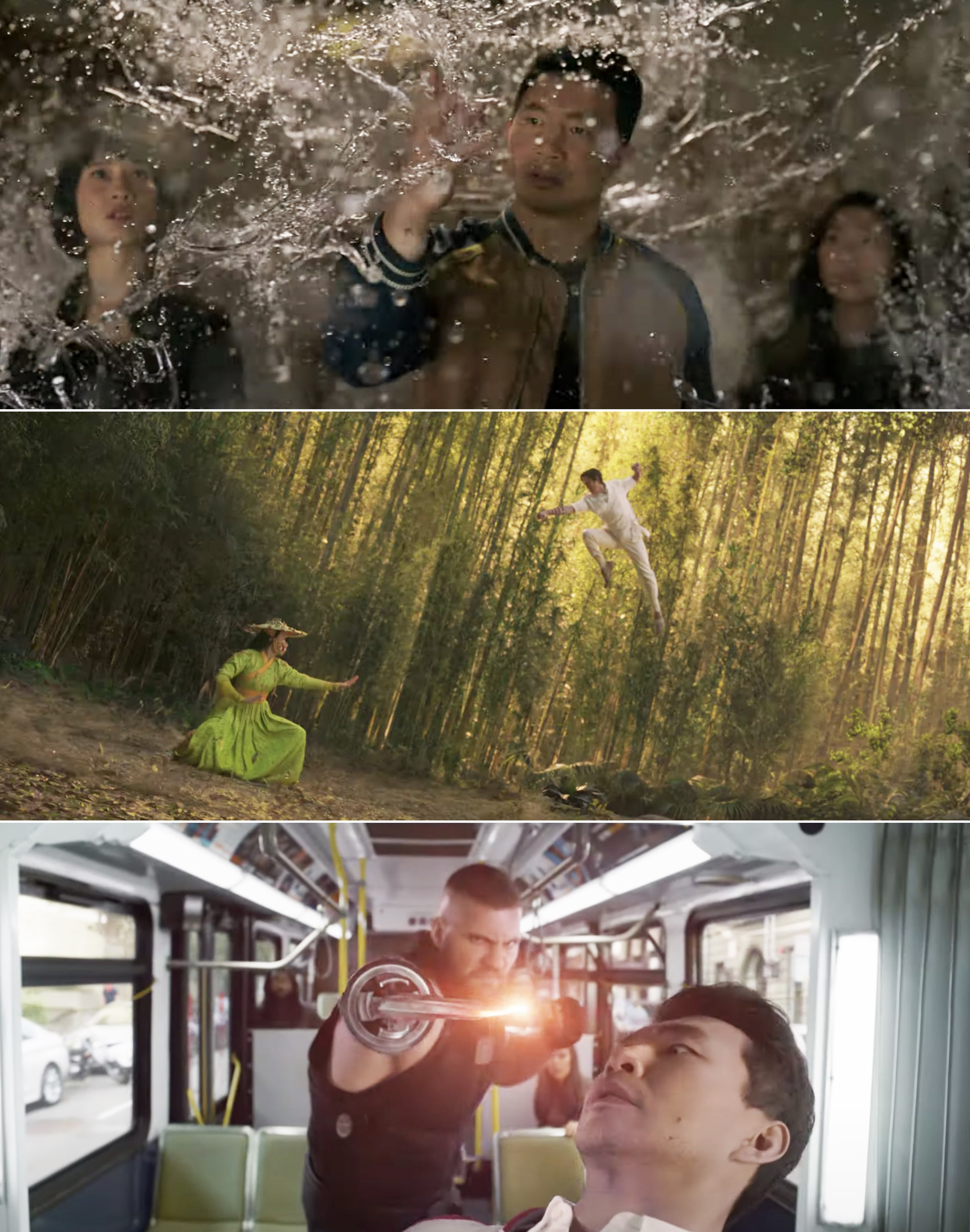 Simu touches water that seems to float in the air; a high-flying fight in a forest; and a fight scene on a moving bus