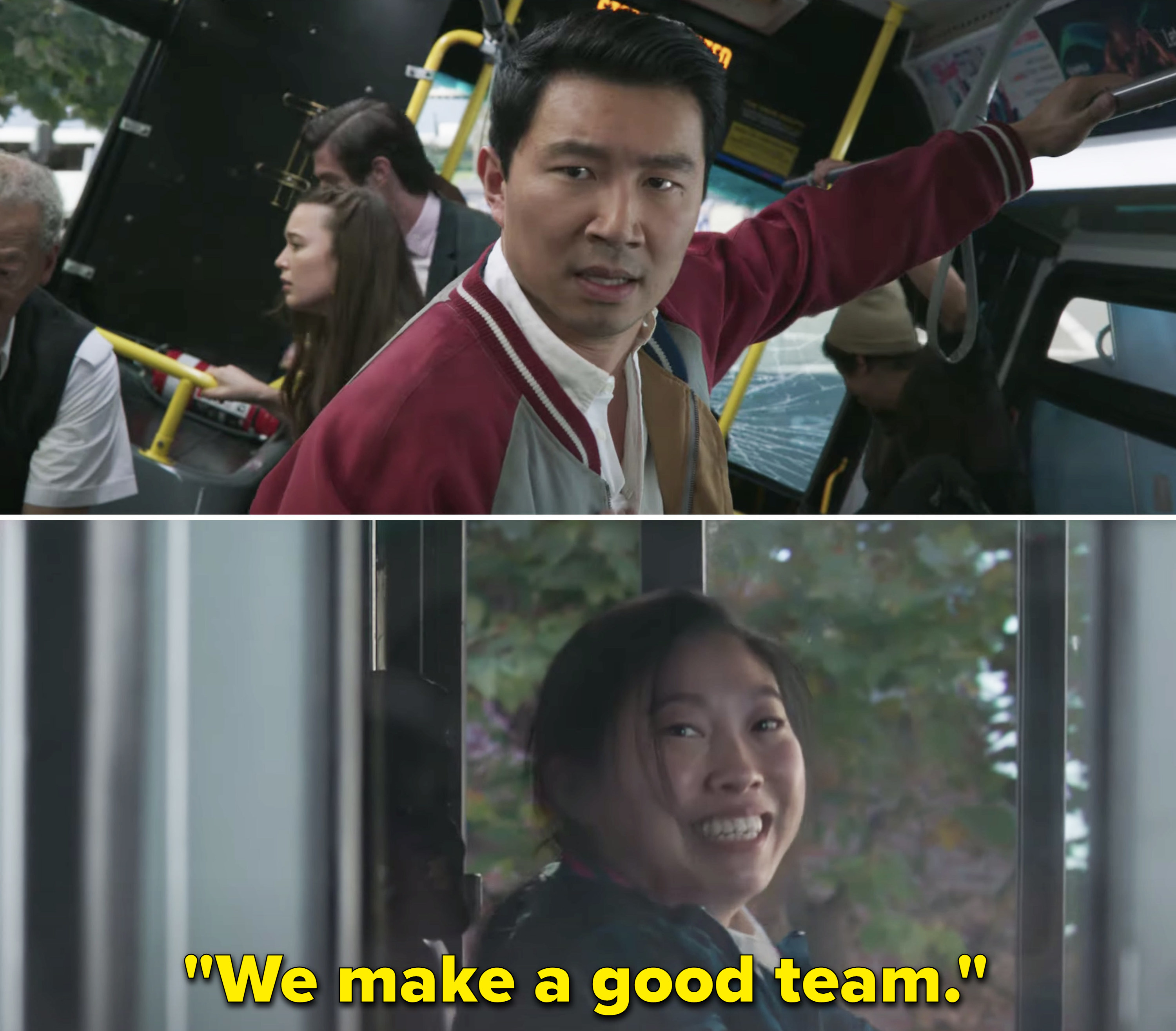 "Awkwafina smiling after driving a bus and saying ""We make a good team"" to a slightly distressed Simu"