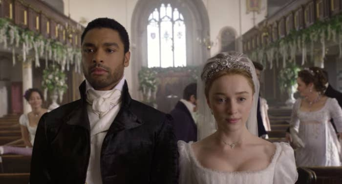 """The Duke at the altar in a chapel getting married in """"Bridgerton"""""""