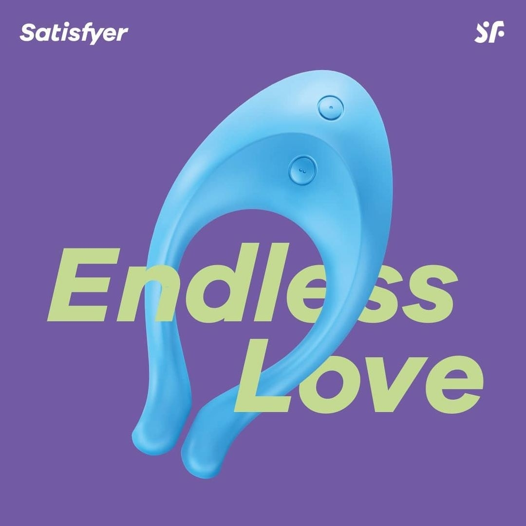 """a light blue satisfyer endless love vibrator against a purple background with green text that reads """"endless love"""""""