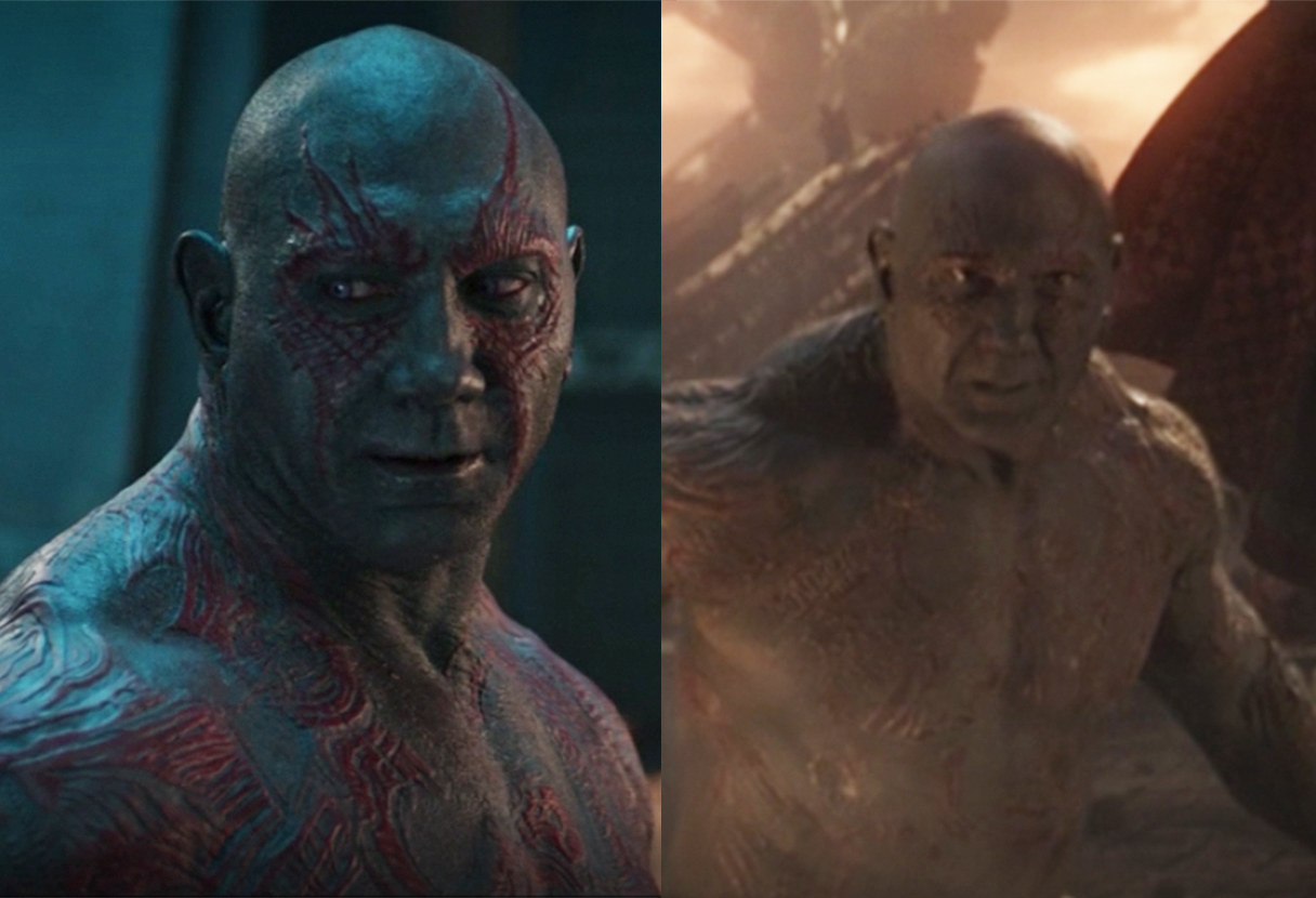 Drax's character makeup is subtly different between the two