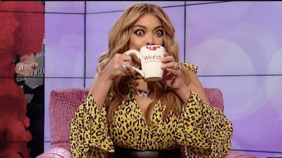 Wendy Williams sipping from her coffee mug