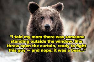 """A very cute looking bear with text reading, """"I told her there was someone standing outside the bathroom window. My mom threw open the curtain, ready to fight this guy outside the window — and nope, it was a bear"""""""