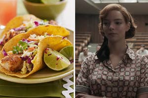 A plate of tacos are on the left with a woman in '50s clothes on the right