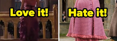 Two pink Harry Potter looks: Hermione's Yule Ball dress and Umbridge's pink suiit