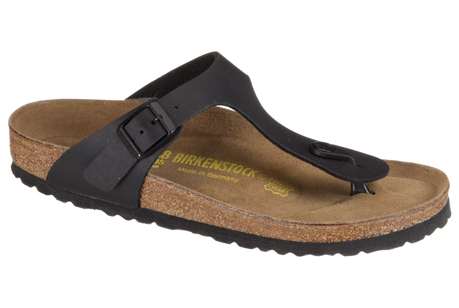 The sandals with a black strap