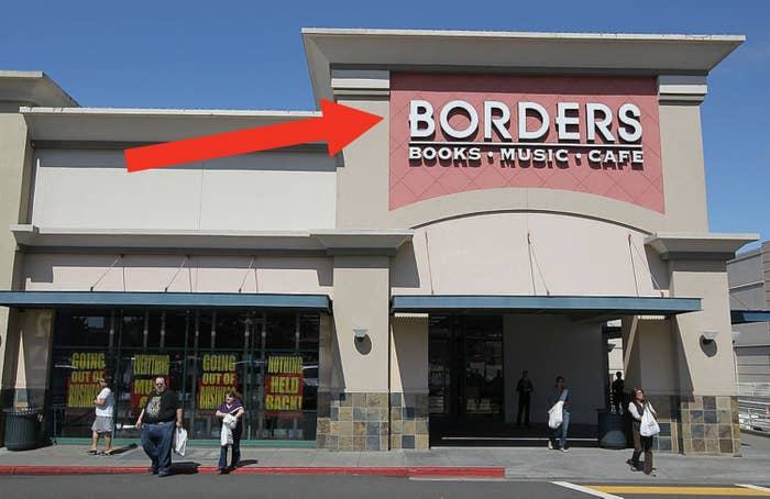 the exterior of a going out of business Borders store