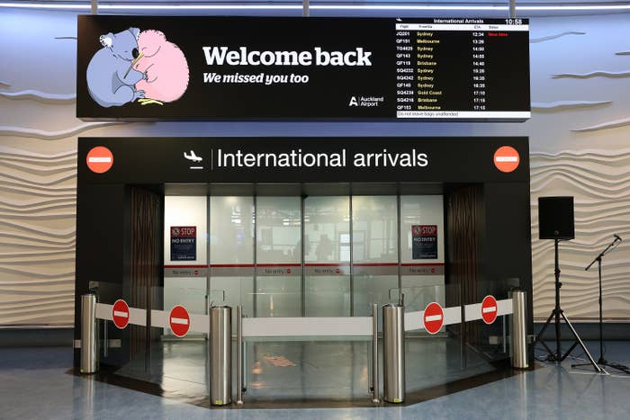 "A sign over the International arrivals that says ""Welcome back, we missed you too"""
