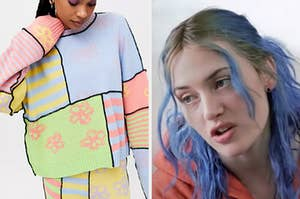 """On the left, someone wearing a bright sweater, and on the right, Kate Winslet as Clementine in """"Eternal Sunshine of the Spotless Mind"""""""