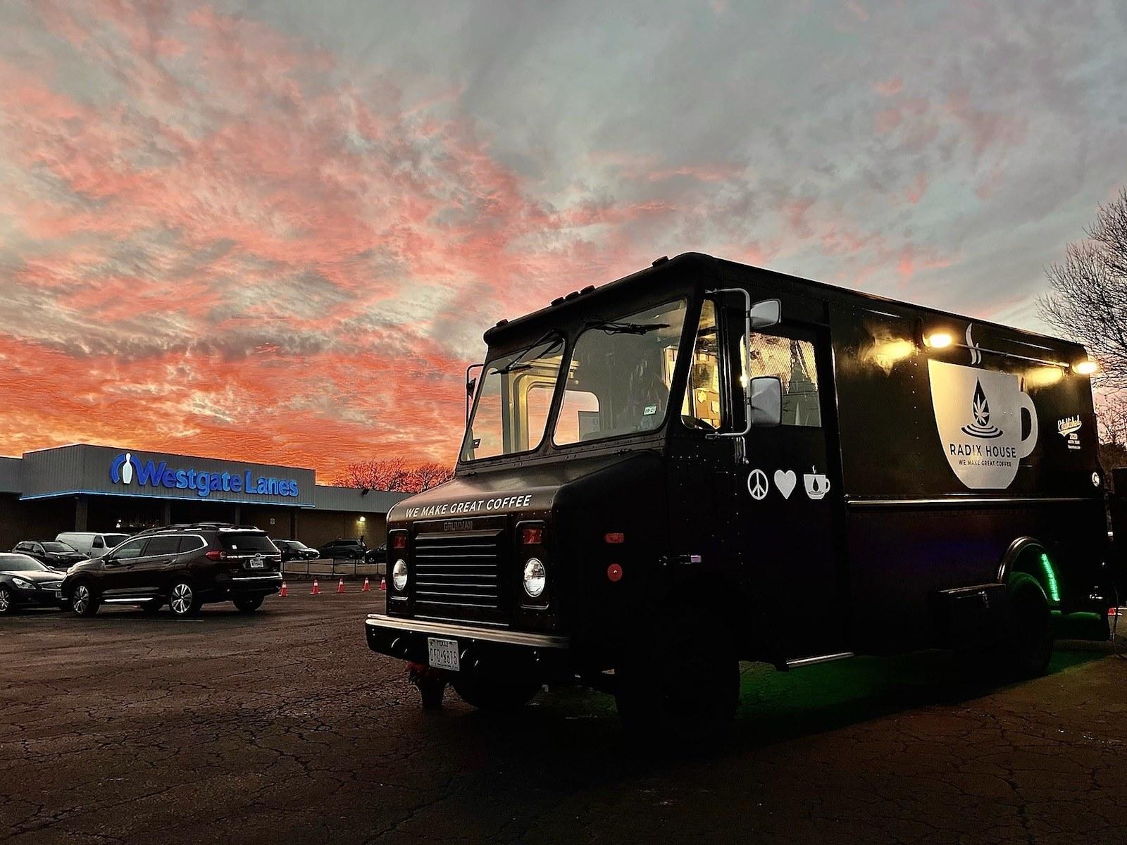 Radix House Coffee truck against skyline