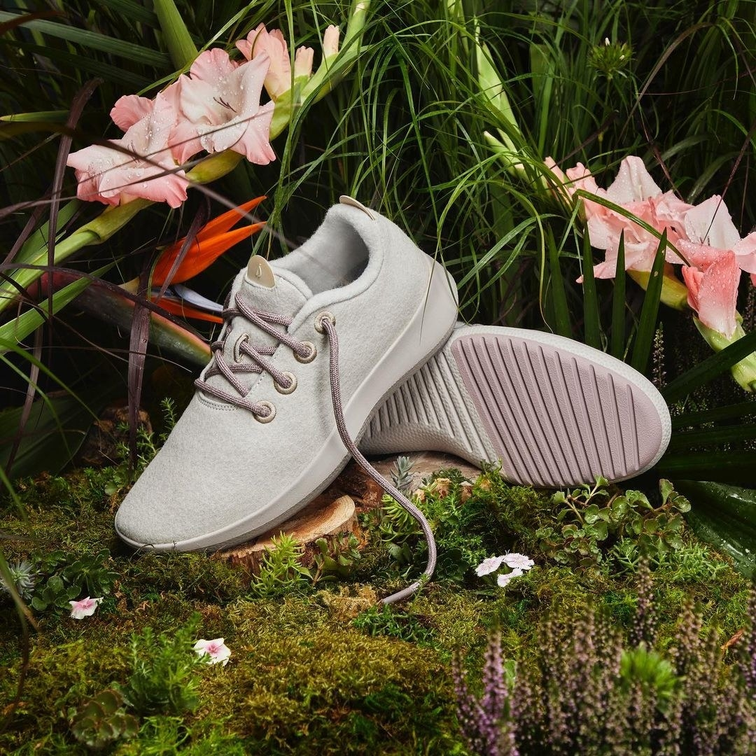 A pair of wool sneakers in a mossy, forest-like setting