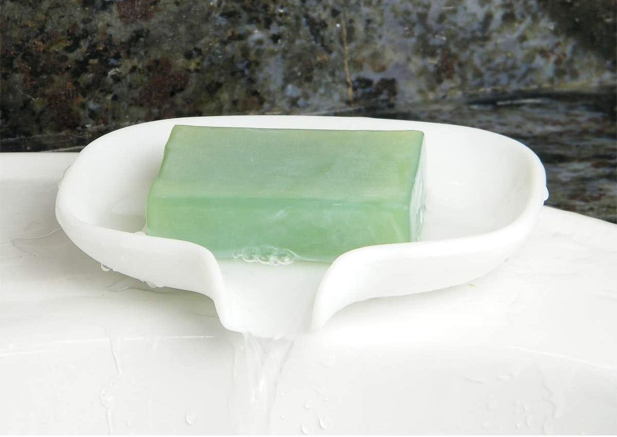 the white silicone dish with soap inside