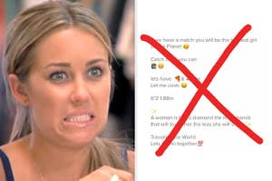 """Lauren Conrad gives a """"yikes"""" reaction next to a crossed-out dating profile"""