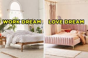 "On the left, a simple bedroom with a large window and plants all around labeled ""work dream,"" and on the right, a bedroom with a bed with a velvet frame and throw pillows next to a window with long curtains labeled ""love dream"""