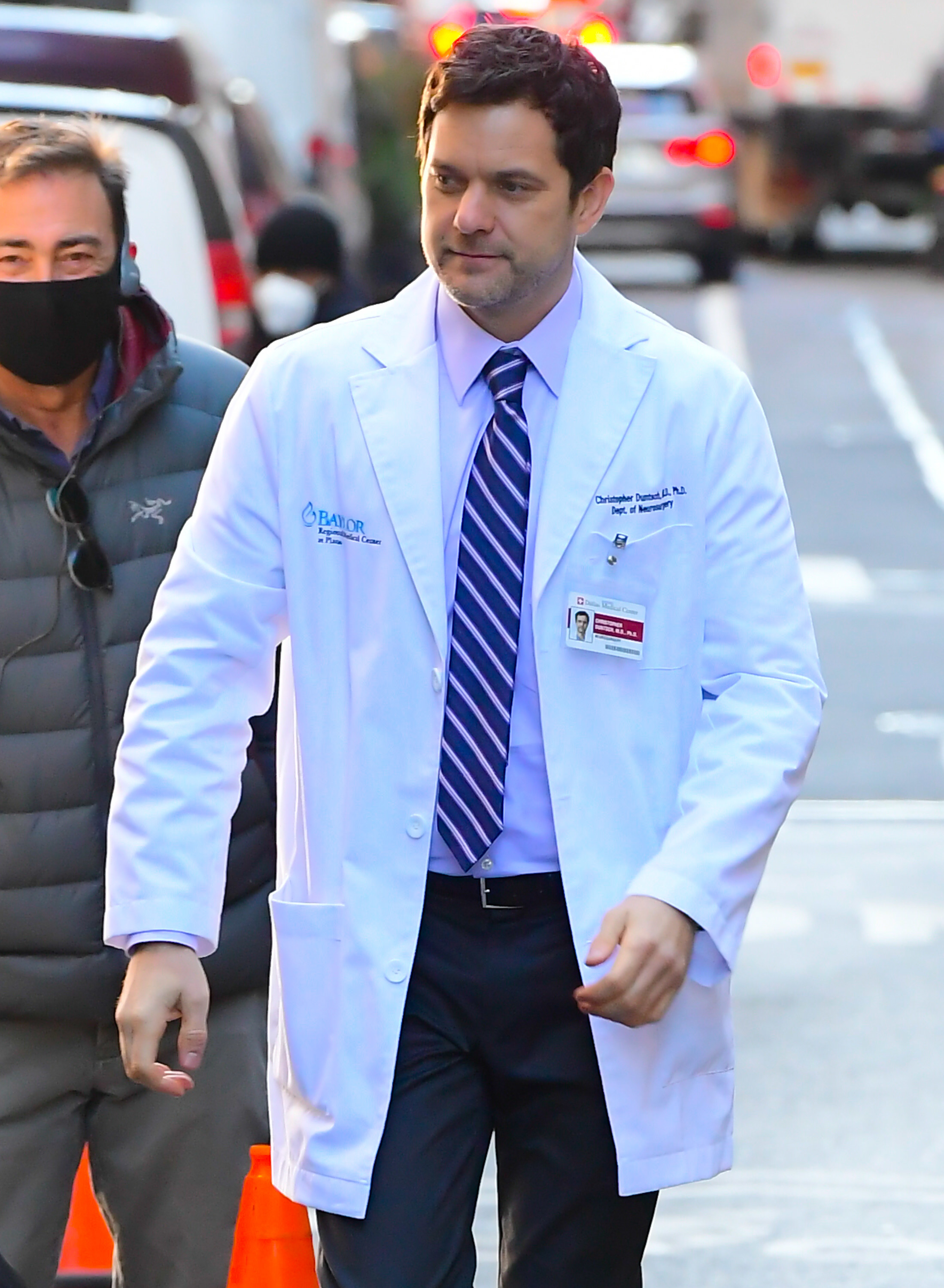on set dressed as a doctor