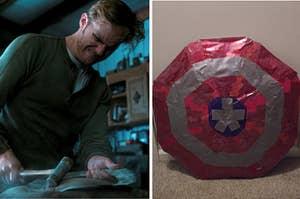 约翰·沃克敲打着一个新的美国队长盾牌,和一个用胶带做的破烂的美国队长盾牌