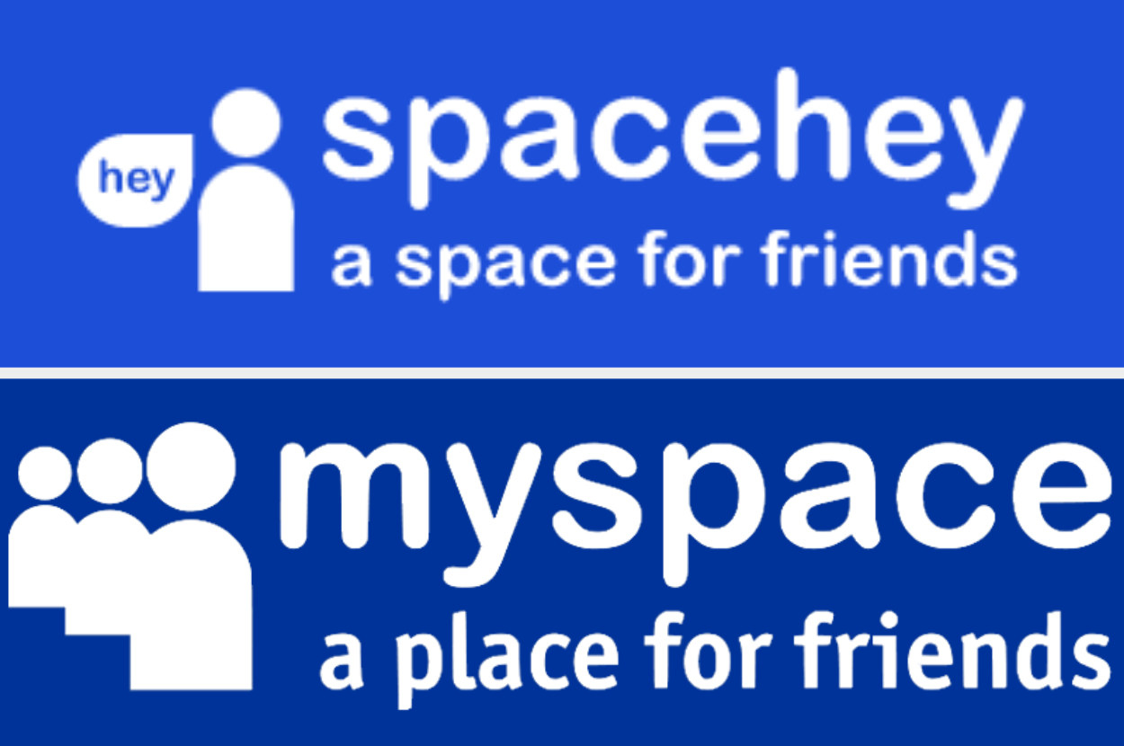 """The SpaceHey logo next to the Myspace logo, with similar font. The spacehey slogan is """"a space for friends"""", while the myspace slogan is """"a place for friends"""""""