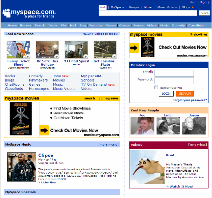 The old Myspace login page