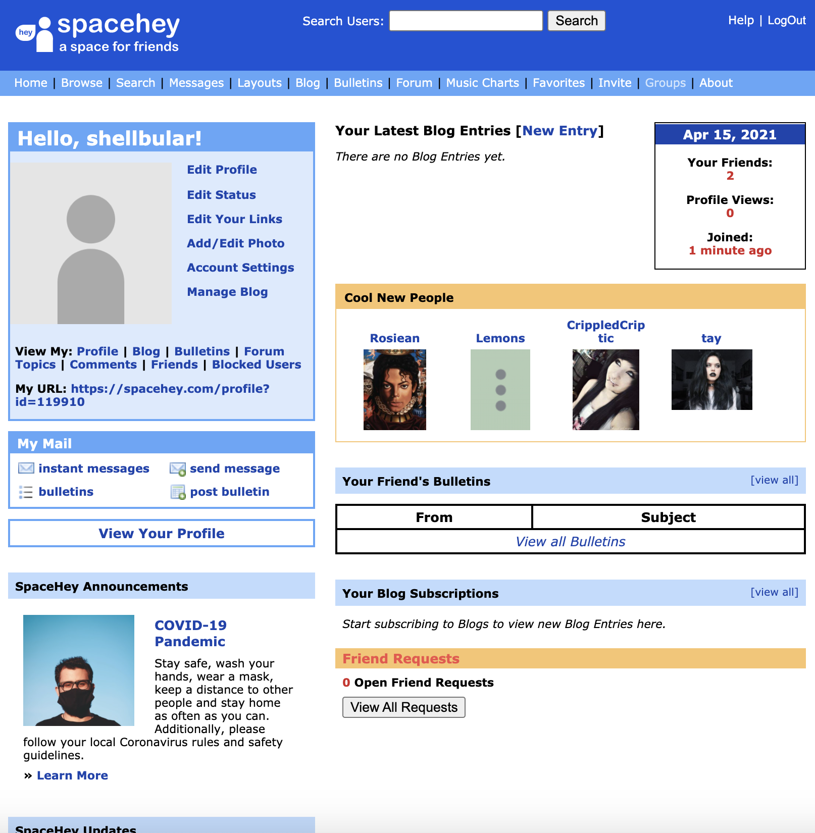 The SpaceHey homepage, looking exactly like the old Myspace homepage down to the positioning, font, and colors