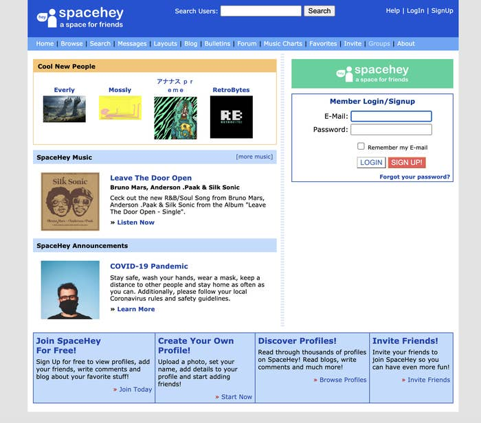 The SpaceHey login page