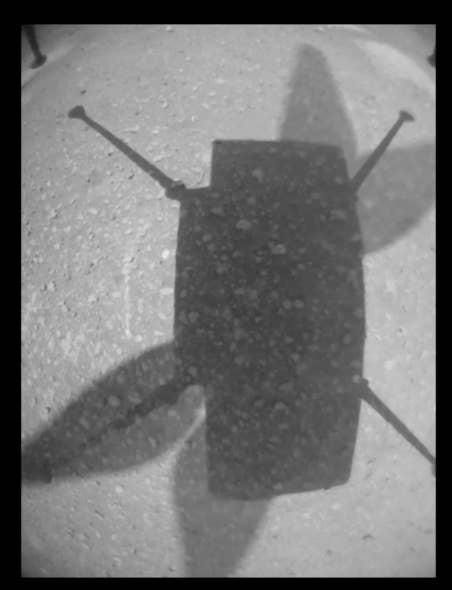Una sombra en la superficie de Marte