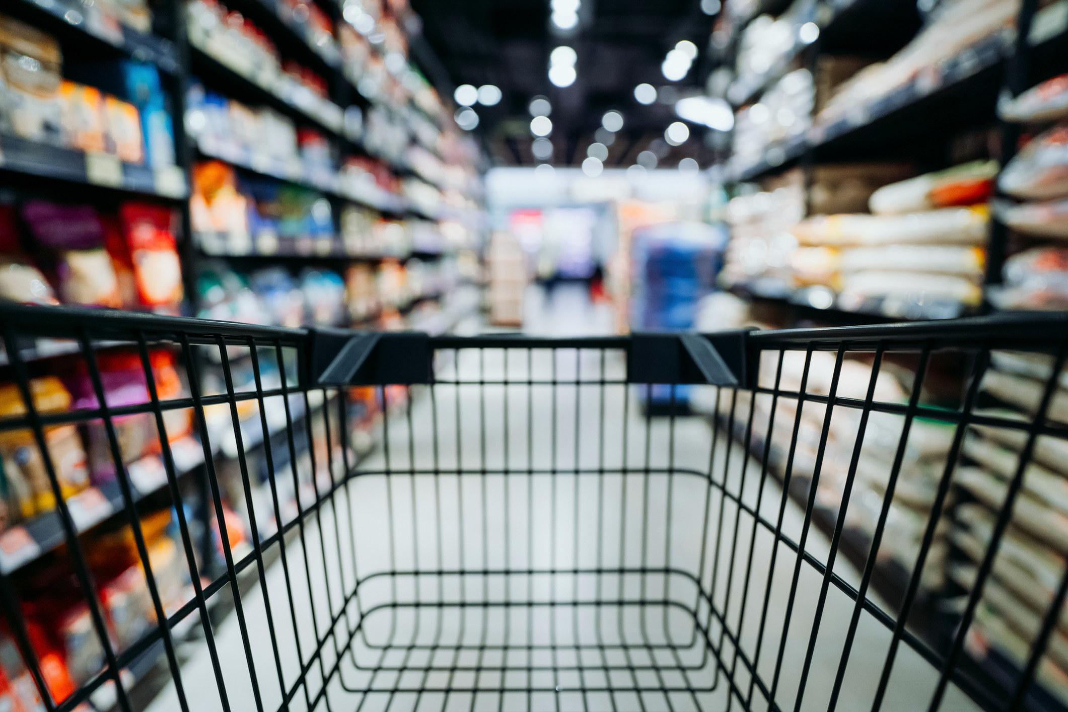an empty grocery cart