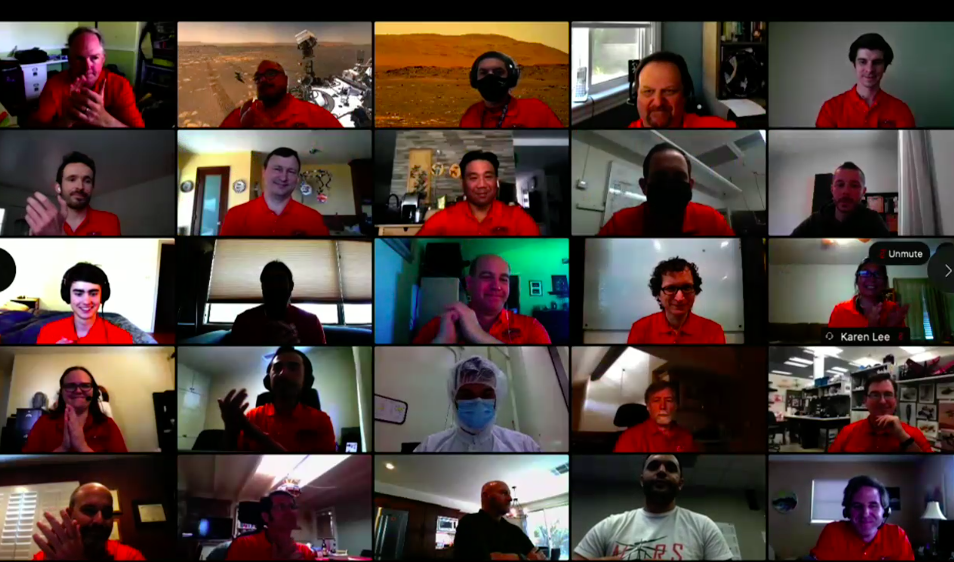 Lots of tiny heads appear on a video call.
