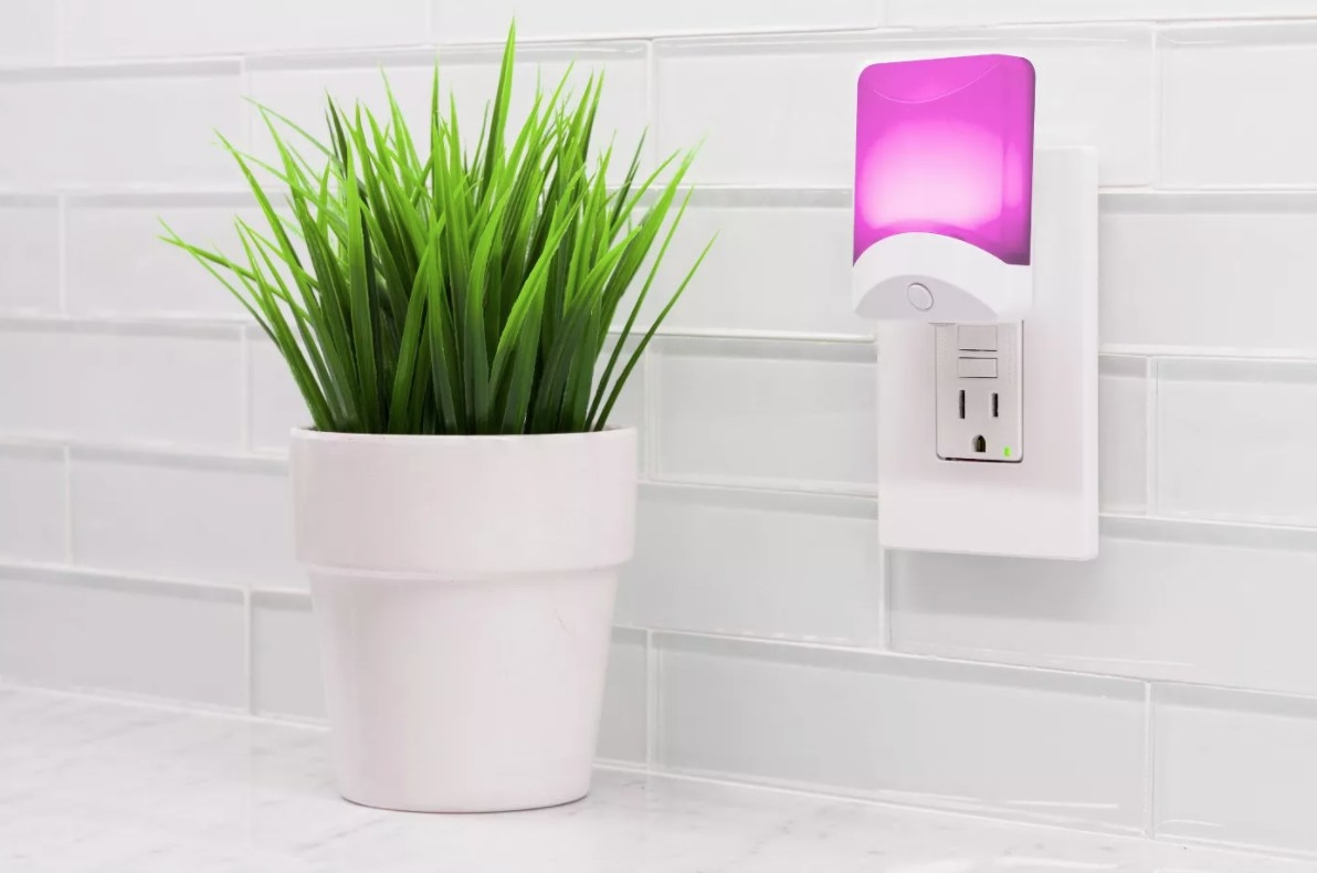 The electric nightlight with the pink light on next to a plant