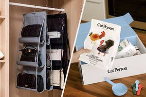 to the left: a handbag holder, to the right: a cat person meal subscription