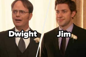 "Rainn Wilson as Dwight Schrute and John Krasinski as Jim Halpert in the show ""The Office."""