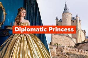 """""""Diplomatic Princess"""" with a woman and a castle"""