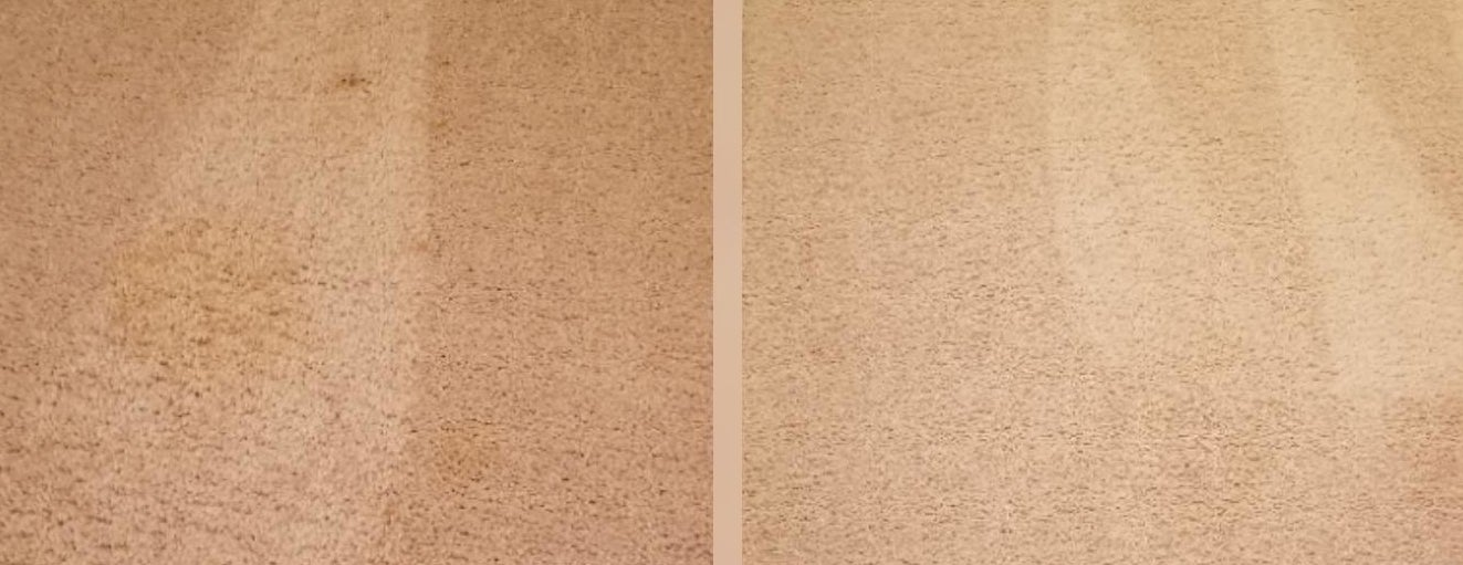A carpet before and after using the product, with a large stain removed