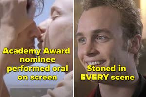 Ethan Embry smiling in Can't Hardly Wait and the text stoned in every scene