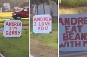 Andrea I'm sorry, I love you, eat beans with me signs