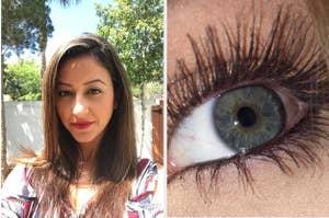 左边是一个化妆完毕的评论家,右边是一个涂着睫毛膏的评论家眼睛的特写