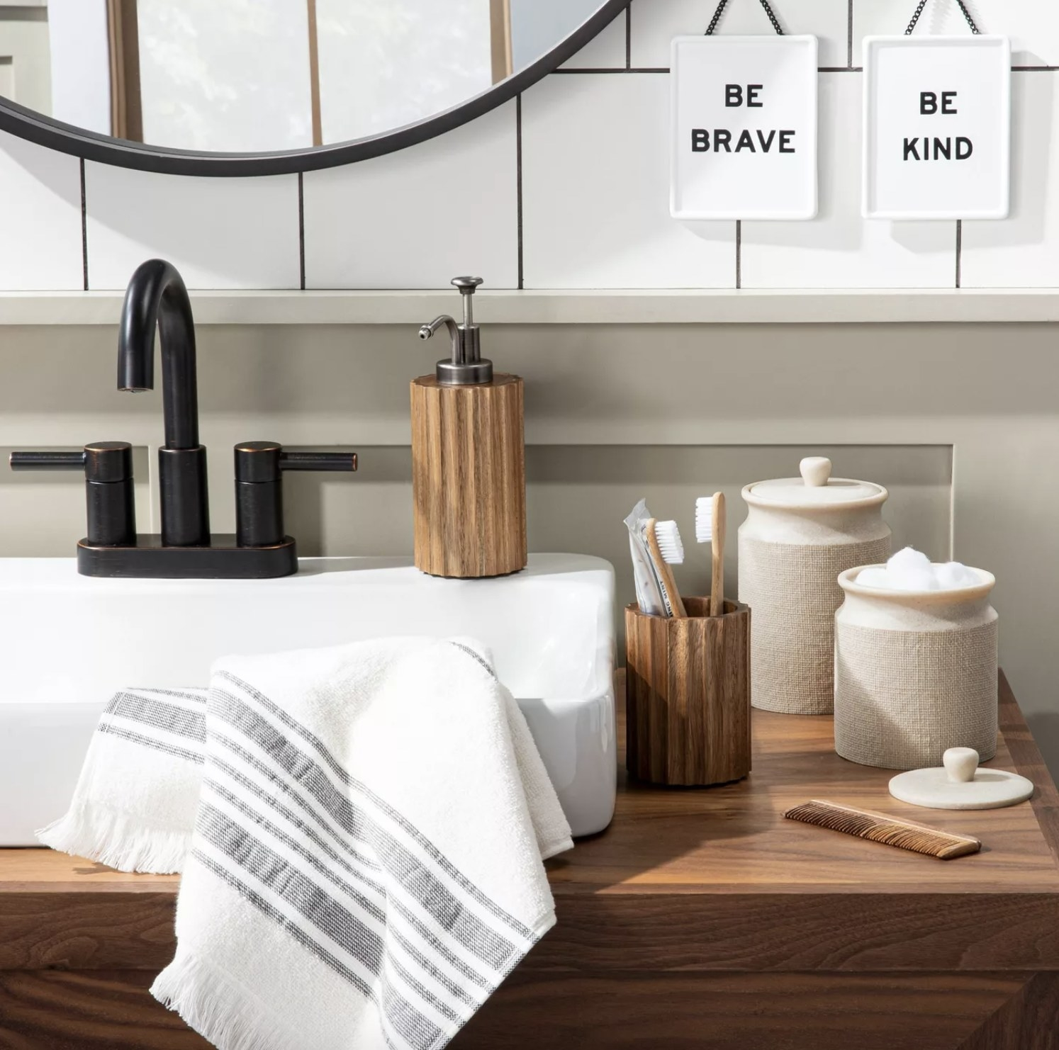 Bath canisters on counter