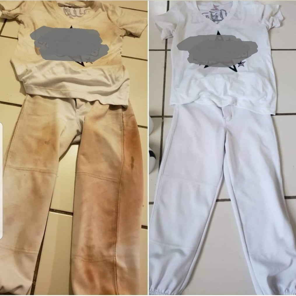 Before and after of a reviewer's T-shirt and pants that are stained dark brown and then look bright and white after being cleaned with the soap bar