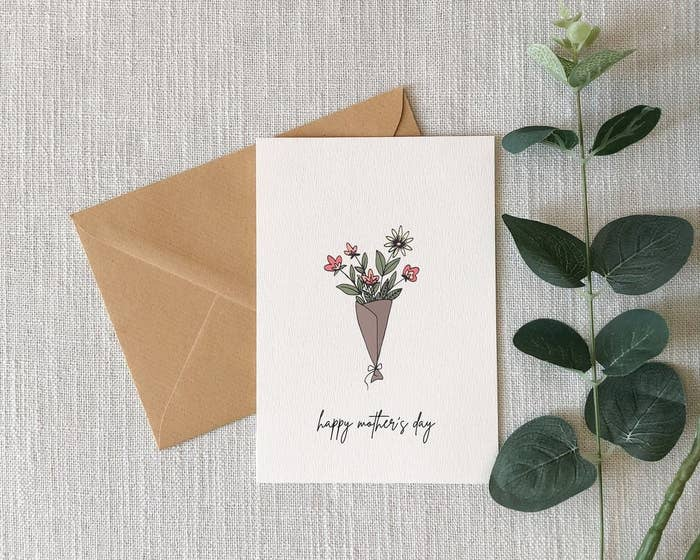 A card with an illustration of a bouquet of flowers